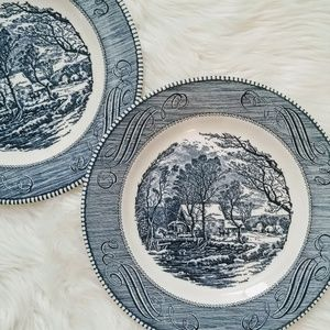 Currier & Ives blue plates Old Grist Mill 10 in
